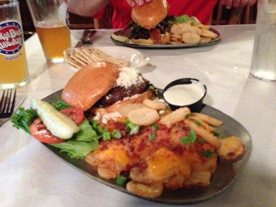 "Washington Street Pub: Lamb burger with ""loaded fries"""