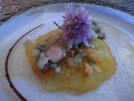 La Sitterie : 1. Vorspeise Ananas Carpaccio mit Meeresfrüchte Pastete
