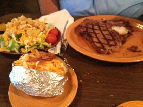 Barbara Jean's Restaurant : T-Bone dinner, with salad and loaded potato