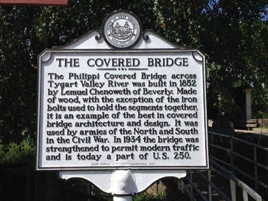 Philippi bridge: State sign concerning the bridge's history
