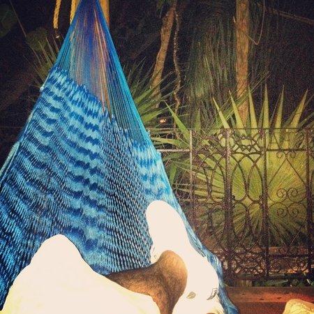 Eco-Hotel El Rey Del Caribe: Lovely evening relaxing in the hammock