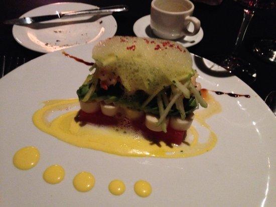 Restaurante Casa Santo Domingo: Watermelon, avocado, shrimp appetizer