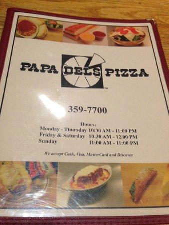 Papa Del's Pizza: Menu front