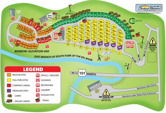 Campsite Map - Picture of Benbow KOA, Garberville - TripAdvisor on fll map, zip code map, route map, coarsegold california map, slc map,