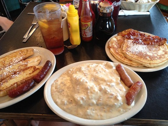 SeaCow Eatery: French toast, biscuits and gravy, and a short stack were all delicious choices.
