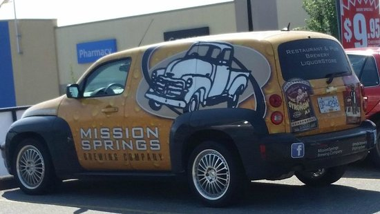 Very cool wrapped car to advertise Mission Springs Brewpub & Restaurant  |  7160 Oliver Street,
