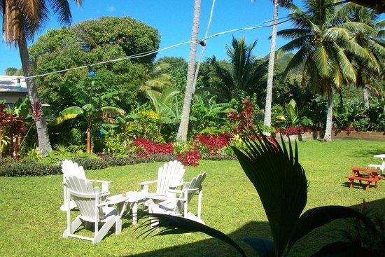 LBV - Le Bon Vivant Muri Beach: Bakery gardens from shady deck