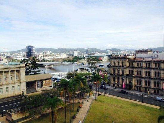 Treasury Hotel & Casino : View from my room with balcony on the 4th floor of the Treasury Hotel.