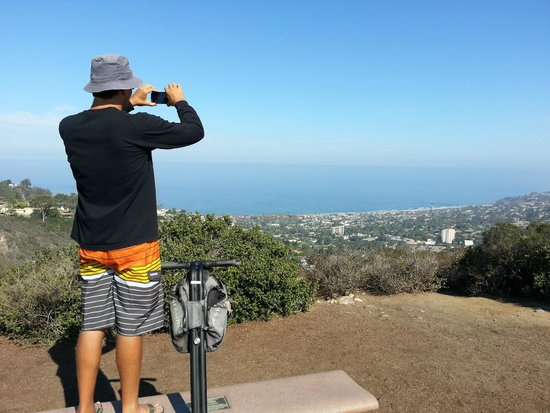 We Love Tourists: James at the top of Mt. Soledad on a picture taking break!