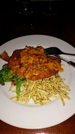 Twisted Cork: Schnitzel with Spaetzle noodles and paprika and chorizo cream sauce.