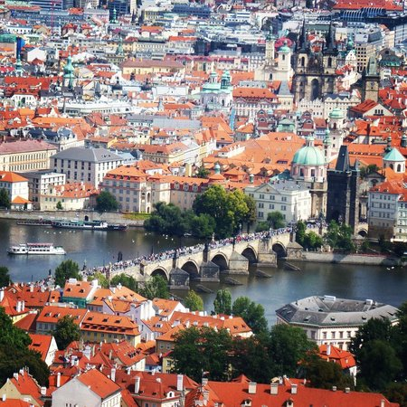 Petrin Tower (Rozhledna): Charles Bridge and Old Town