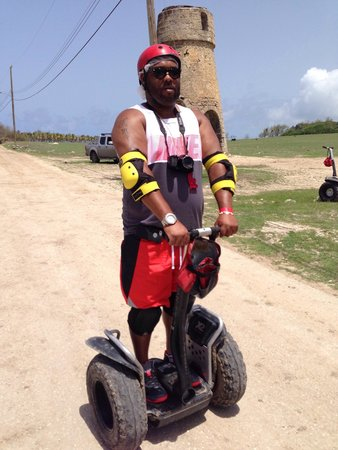 Segway Barbados : My tourist guy nervous as ever practicing on the Segway lol