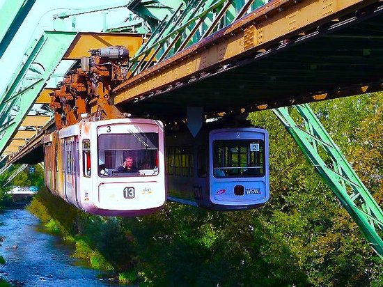 Two trains passing on the Schwebebahn Picture of The Wuppertal