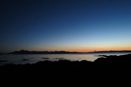 Tigh a Cladach: View from the garden over the sea to Skye