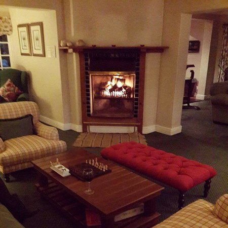 Blue Gum Country Estate: Fireplace area at the bar..