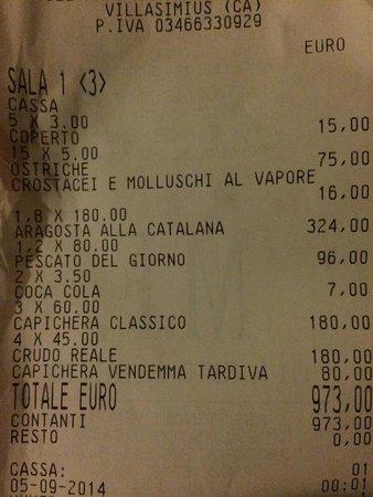 La Capanna - Osteria al Mare: Bill!!