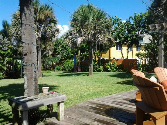 Beach Place Guesthouses : View of the grounds between guesthouses and the beach