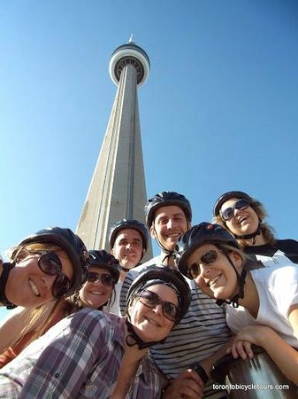 Toronto Bicycle Tours: A stop in front of the CN Tower
