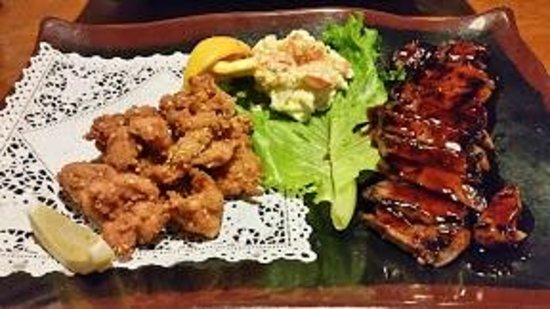 Kappo Honda: TEISHOKU (Two Item Dinner Plate Combination Dinner) - Sesame Fried Chicken and Beef Teriyaki