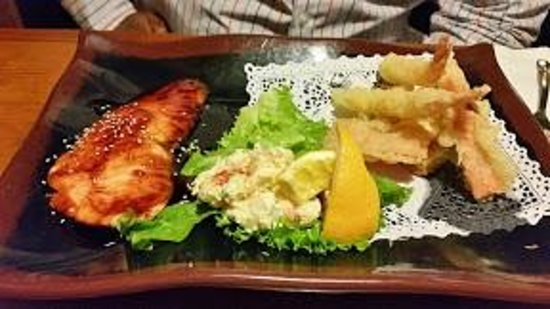 Kappo Honda: TEISHOKU (Two Item Dinner Plate Combination Dinner) - Grilled Salmon Teriyaki and Tempura (Shrim