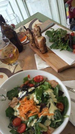 Raki Ba Raki: chicken salad and skewered chicken