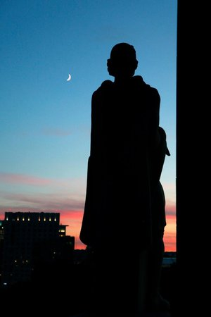 Silhouette of Roger William's statue at Prospect Terrace.