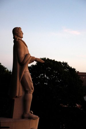 Founder Roger William's statue at Prospect Terrace overlooking downtown Providence.