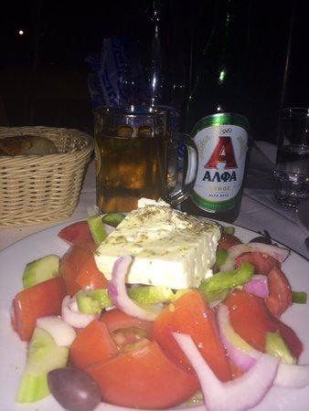 Greek Salad and Alfa Beer ... Delicious! :)