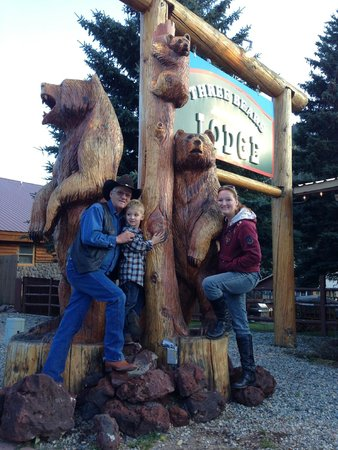 Three Bears Lodge : My father, son, and me in front of the hotel