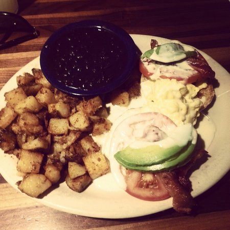 Kerbey Lane Cafe: Eggs Francisco with black beans and home fries...bomb!