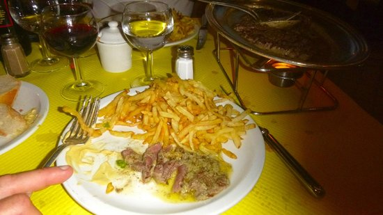L'Entrecote: The main steak with the first serve of fries..