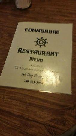 Commodore Restaurant: Menu sign