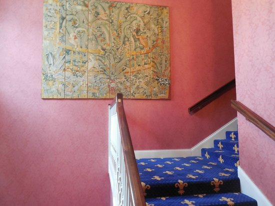 Barberstown Castle: The interior including carpeted stairs and art on the walls was lovely.
