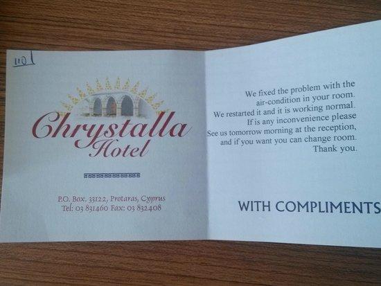 Chrystalla Hotel: Reakcja hotelu na zgłoszenie awarii klimatyzacji