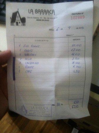 La Barraca: the bill