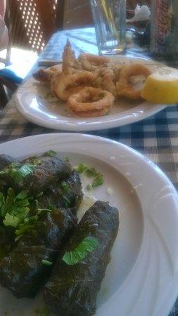 Skala Beach Restaurant: kalamari  and vine leaves