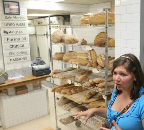 Off The Eaten Path Tours: Paula telling us a little about the bakery & its freshly baked bread