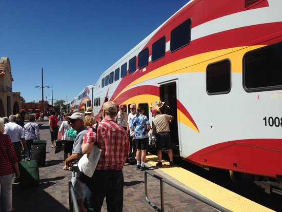 New Mexico Rail Runner: Leaving the train in Santa Fe after a slow crawl through town.