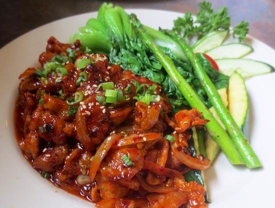 jae's asian bistro: Spicy Korean pork was terrific as usual