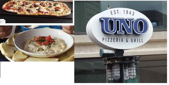 Uno Pizzeria & Grill: Shrimp and Crab Dip and Pizza