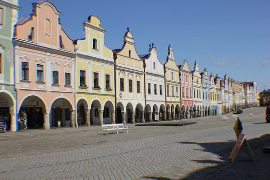 Historic Centre of Telc: View of Building Facades in Center of Telc, Czech Republic