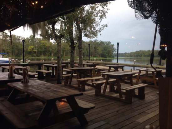 Clark's Fish Camp: Out on the patio over the swamp