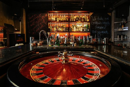 roulette table bar counter picture of library distillery lounge shanghai tripadvisor. Black Bedroom Furniture Sets. Home Design Ideas