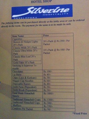 Hotel Silverine: Rate card