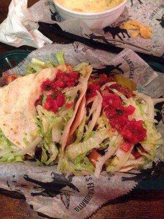 Juan's Flying Burrito: Two shrimp, one veggie taco