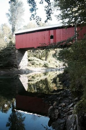Slaughterhouse Covered Bridge: beautiful red covered bridge over nice stream