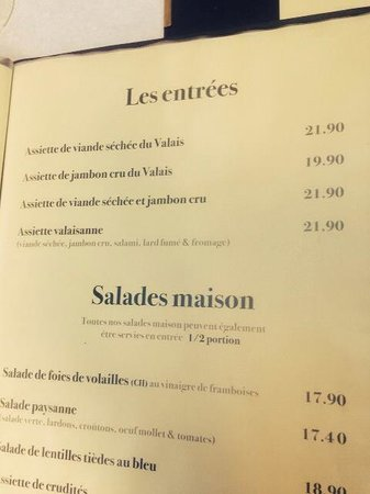 Cafe du Soleil: a page from menu