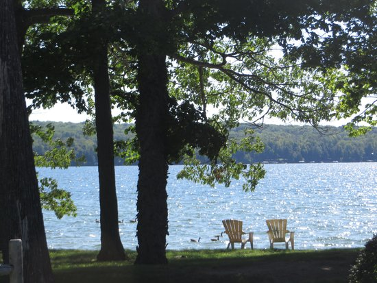 Chairs overlooking Hubbard Lake