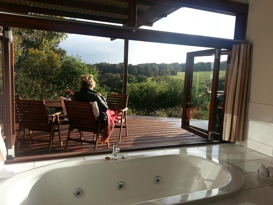 Hilltop Studios Margaret River: The view from the bathroom - all inhibitions are forgotten !