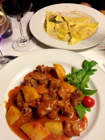 Vineria Il Chianti : I had the wild boar stew and she had the pumpkin ravioli.